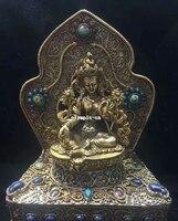 Tibet Nepal handicraft silver filigree inlay Red Gem turquoise Green Tara statue