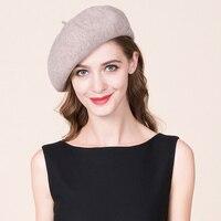 Lady Beret Hat Women British Style Woolen Hats Girls Winter Warm Pumpkin Hats Students Leisure Knitted Wool Cap B 8726