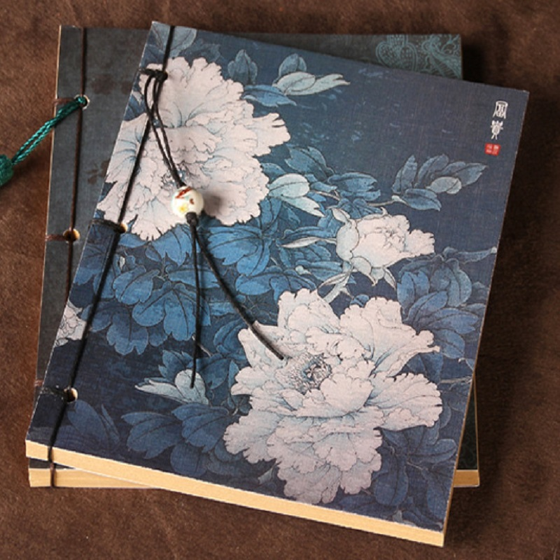 19.5*13.5cm Chinese Vintage Peony Note Book Chinese Ancient Style Diary Retro Flower Notebook For Kids Painting Kraft Sketchbook(China)