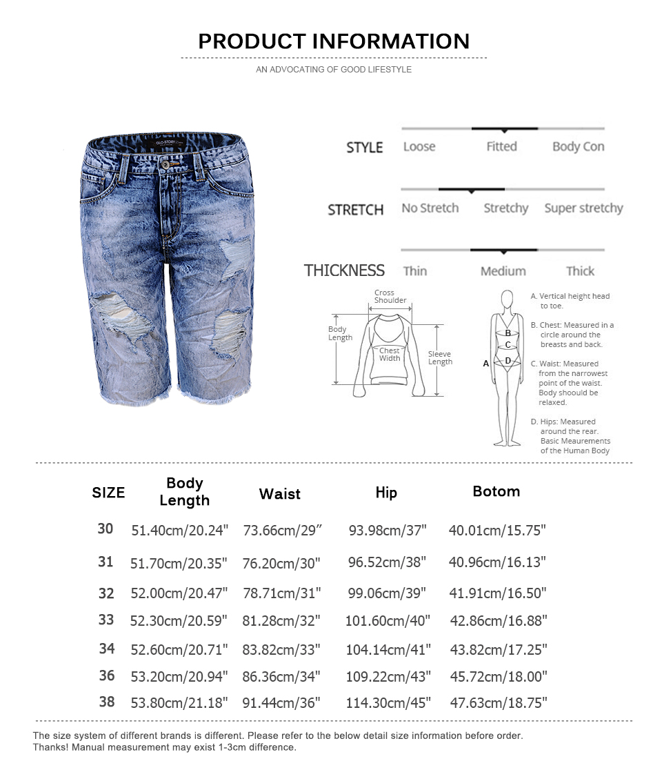 27d1d5d965 GLO STORY Men's Broken Bottom Holes Distressed Ripped Denim Shorts ...