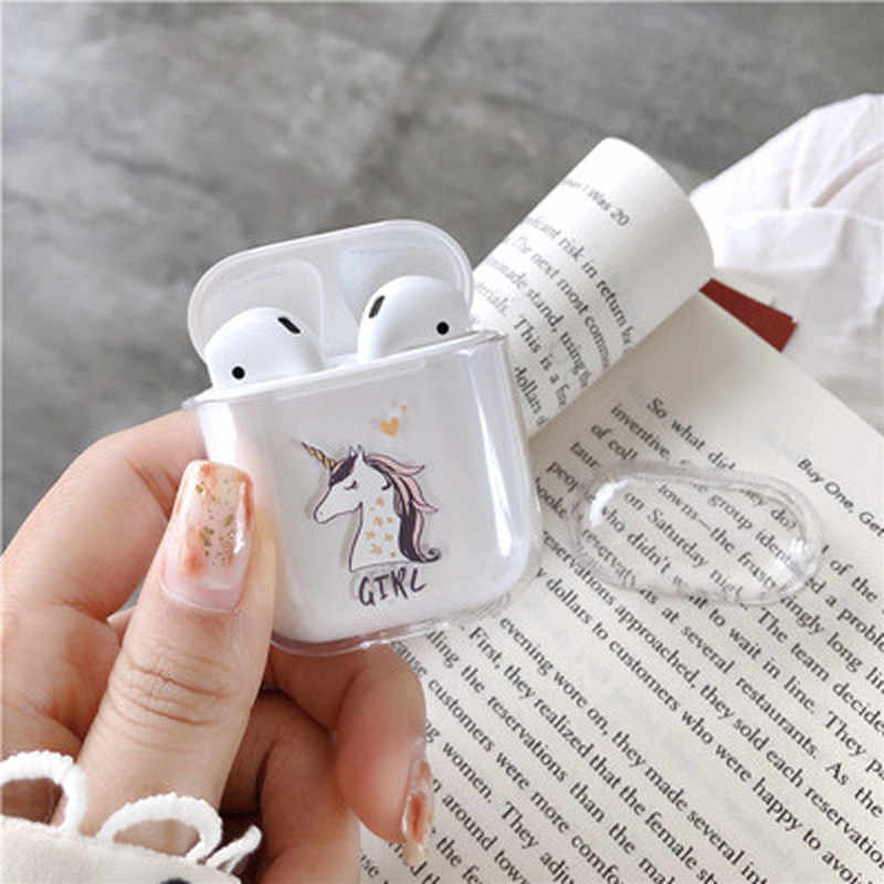 Cute Pattern Transparent Hard PC Cases for AirPods Cases Protective Cover Bluetooth Wireless Earphone Case