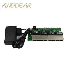 OEM PBC 8 Port Gigabit Ethernet Switch 8 Port erfüllt 8 pin way header 10/100/100 0 m hub 8way power pin Pcb board OEM schroef gat