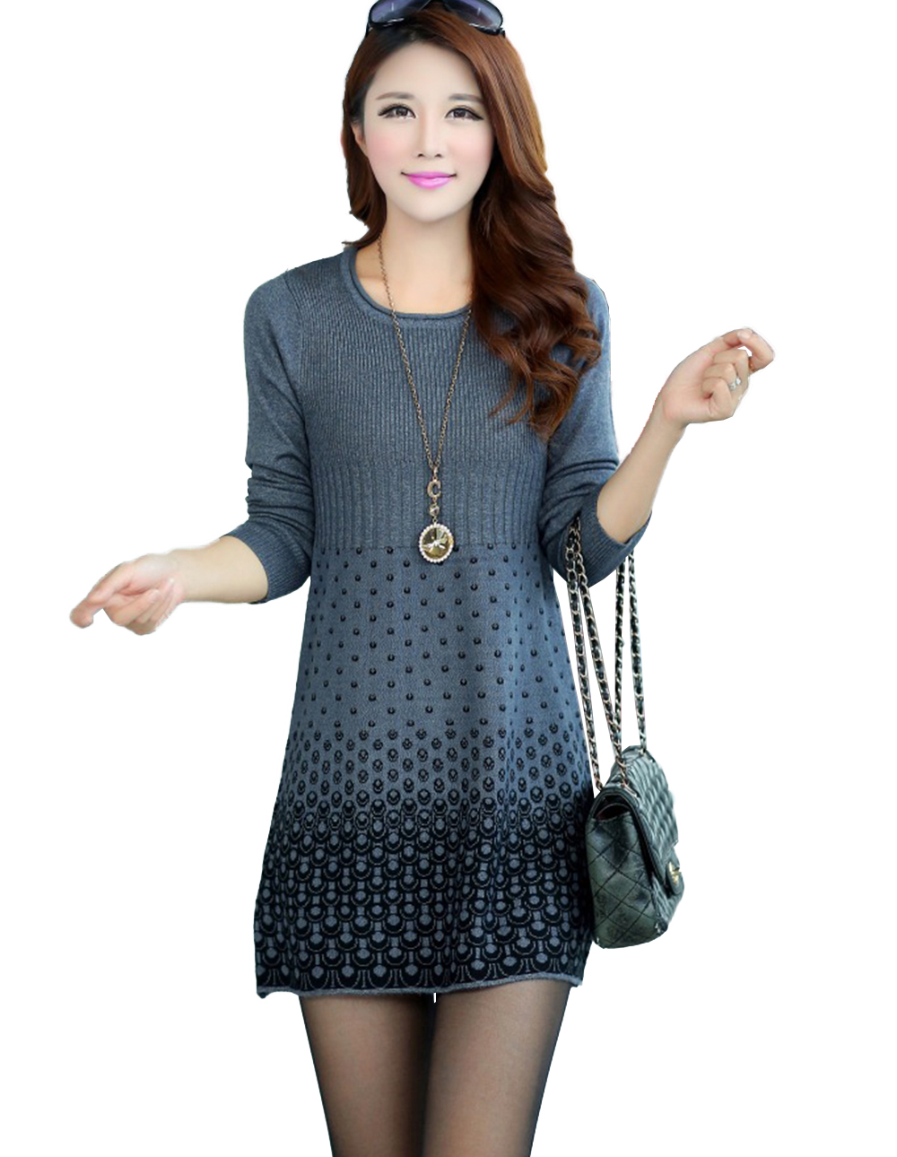 2017 Autumn Winter Sweater Mini Knitted WOOL Sweater Dress Plus Size High Quality Warm Women Sweater and Pullovers 4 Colors