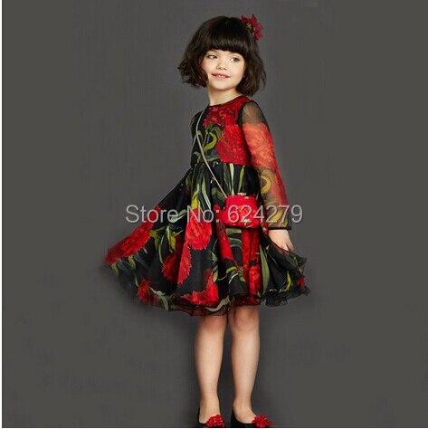 US $49 0  2016 Baby Girl Dress Long Sleeve Chiffon Dresses Girls Summer  Spring Autumn Dress Rose Print Kids Clothes Girls Princess Dress-in Dresses