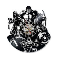 Avengers Wall Clock Modern Design Marvel Iron Man & Captain America & Thor Vinyl Record Clocks LED Wall Watch Home Decor