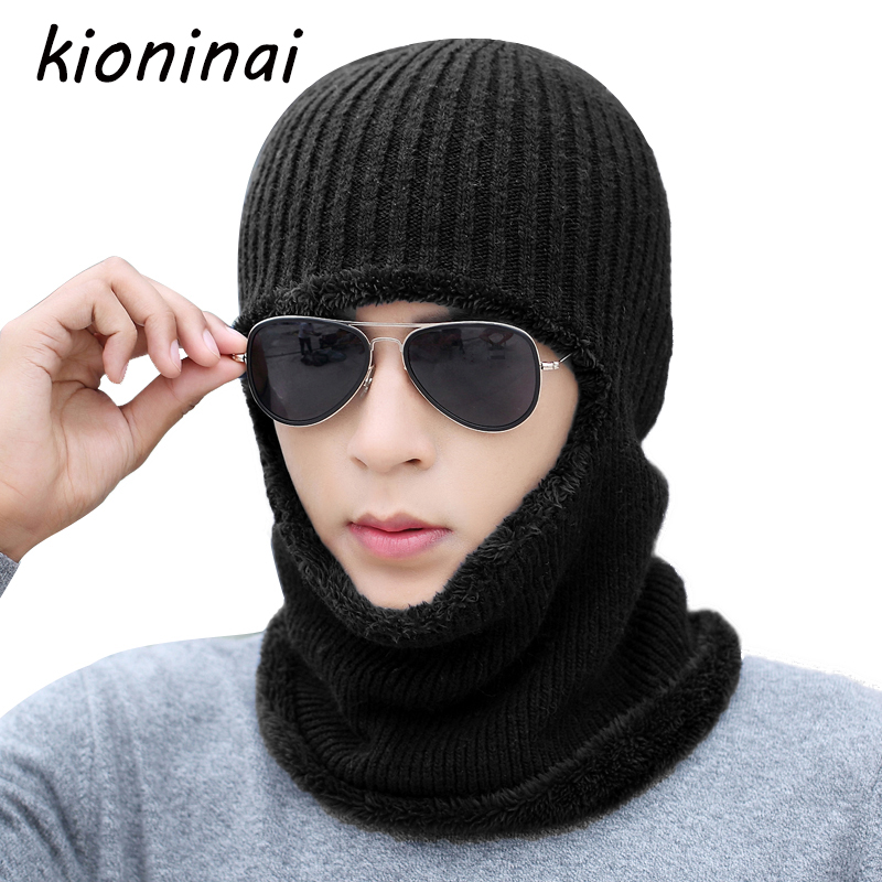 Kioninai Thick Mask Winter Hat Men Beanie Knit Cap Women Balaclava Knitted  Multi Functional Wool Double Thermal Plush Pocket Hat bd9d233030