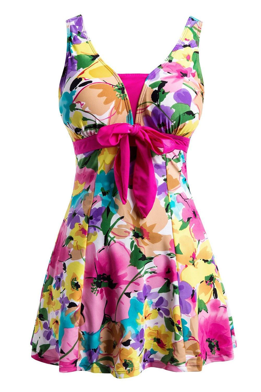 Womens Swimwear Bathing Suit Push Up Swimsuit One Piece Swim dress Rose Red