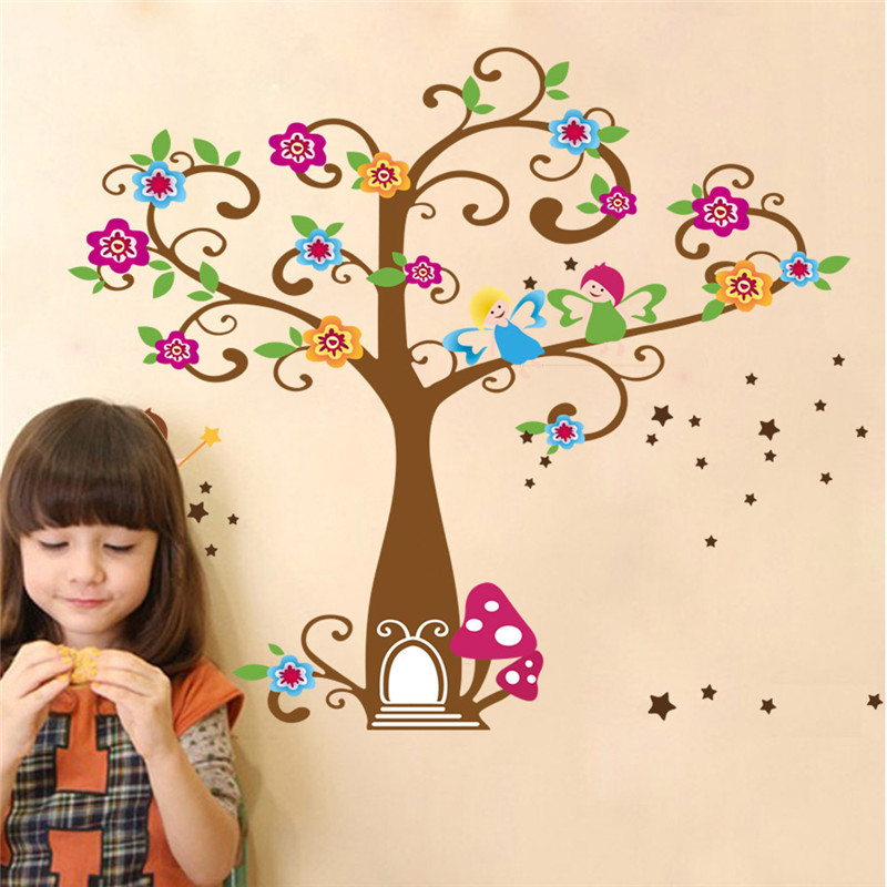 Flower Wall Stickers Graceful Peach Blossom Sticker For Kids Wall Stickers Living Room Decoration Vinyl Sticker Mural Wallpaper