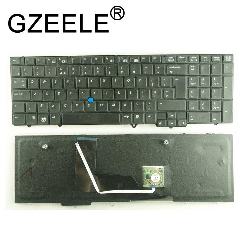 Clavier d'ordinateur portable GZEELE UI pour HP EliteBook 8540 p 8540 w série US clavier avec autocollant de Point de souris noir
