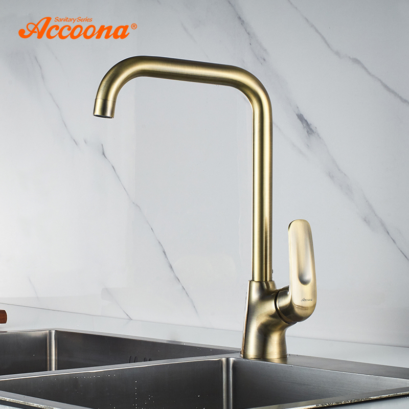 Accoona Antique Kitchen Faucet Brass Construction Water Tap Bar Sink Faucets Single Handle Cold Hot Water Mixer Tap Crane A4416C