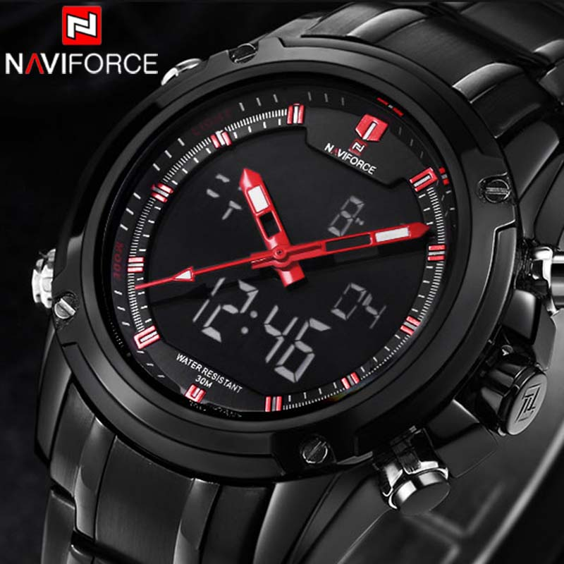 2017 Luxury Brand NAVIFORCE Men Military Sports Watches Men Quartz LED Digital Hour Clock Relogio Masculino