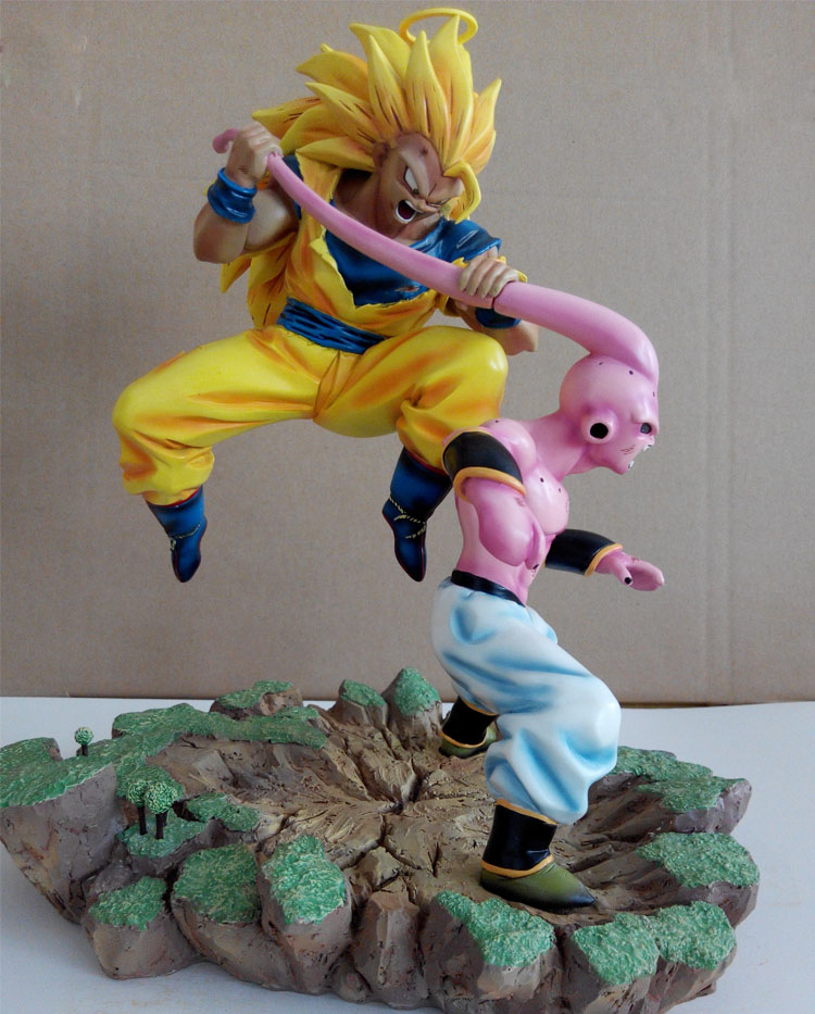MODEL FANS Dragon Ball Z 32cm super saiyan 3 goku vs evil small Majin Buu gk resin action figure toy for Collection model fans dragon ball vkh 32cm goku vs piccolo gk resin statue figure toy for collection