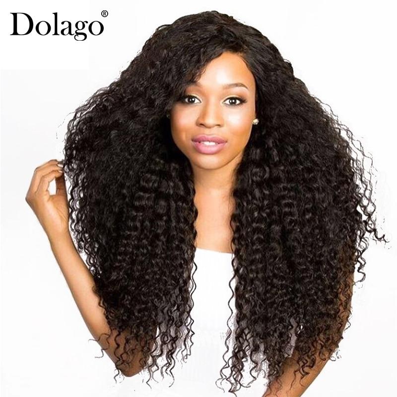 Kovrčava čipka sprijeda ljudska kosa perika za žene Brazilski čipke perika s bebom kose 250% gustoće Pre otrgnute crne pune Dolago Remy