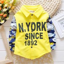 Brand New 2016 high quality Cotton Printing stitching Baby Boys shirts Kids Clothes Long Sleeve boys blouse