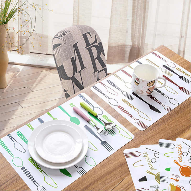 40*28cm Kitchen Accessories Printed Dining Table Mat PP Plastic Heat-insulated Tableware Non-Slip Placemat Waterproof Bowl Pads