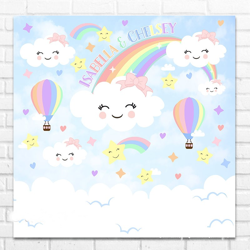 custom rainbow and clouds rainbow baby star photo backdrop High quality Computer print party photography studio background