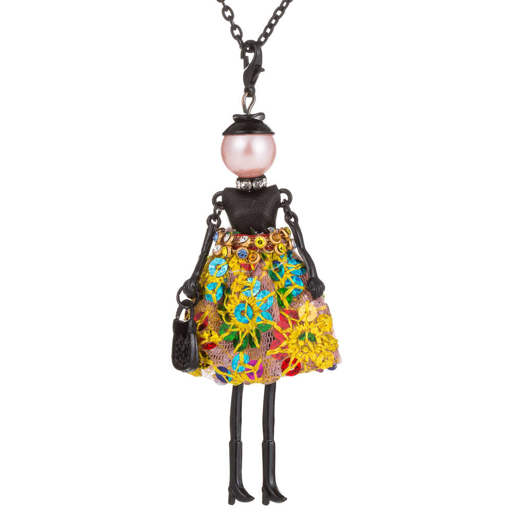 Новинка 2017, Брендовое ожерелье ручной работы, милая Длинная черная цепочка, стразы, ожерелье для женщин и девочек, подарок на Рождество