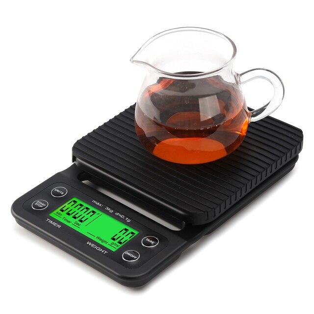 Escala Digital Da Cozinha Escala de Cozimento Ferramentas de Uso Doméstico De Café Eletrônica Tare Off Timer Função Escala 3000g-0.1g