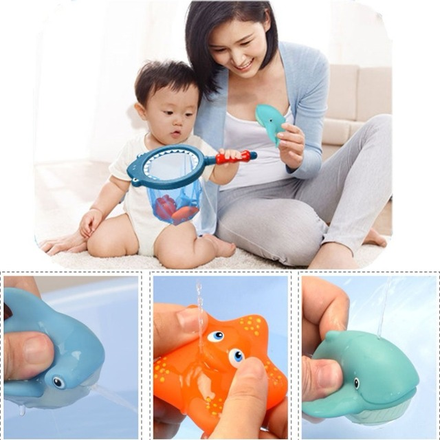 Shark fishing Bath Toy with Fishing Net Floating Animals Water Toy Baby Bathroom Pool Accessory for Kids 12 Months + 5
