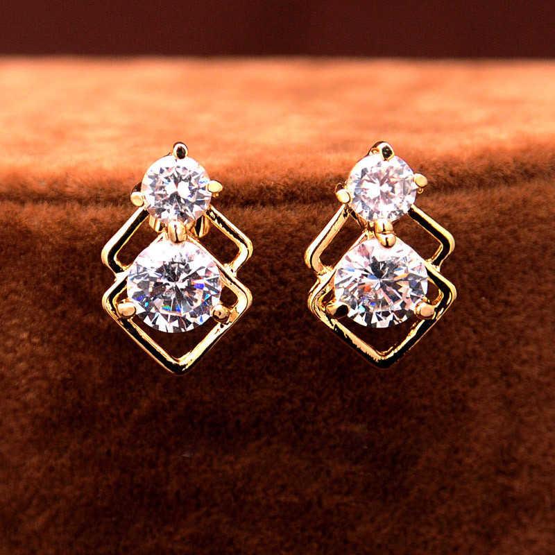 Elegante casamento de cristal conjuntos jóias africanas para as mulheres cor do ouro dupla camada quadrado pingente colar brincos festa jóias
