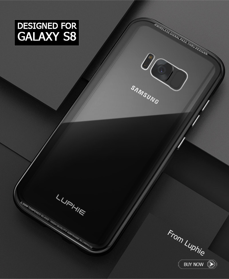 LUPHIE Transparent Cases For Samsung Galaxy S9 S8 Plus Note 8 Metal Bumper Glass Cover (2)