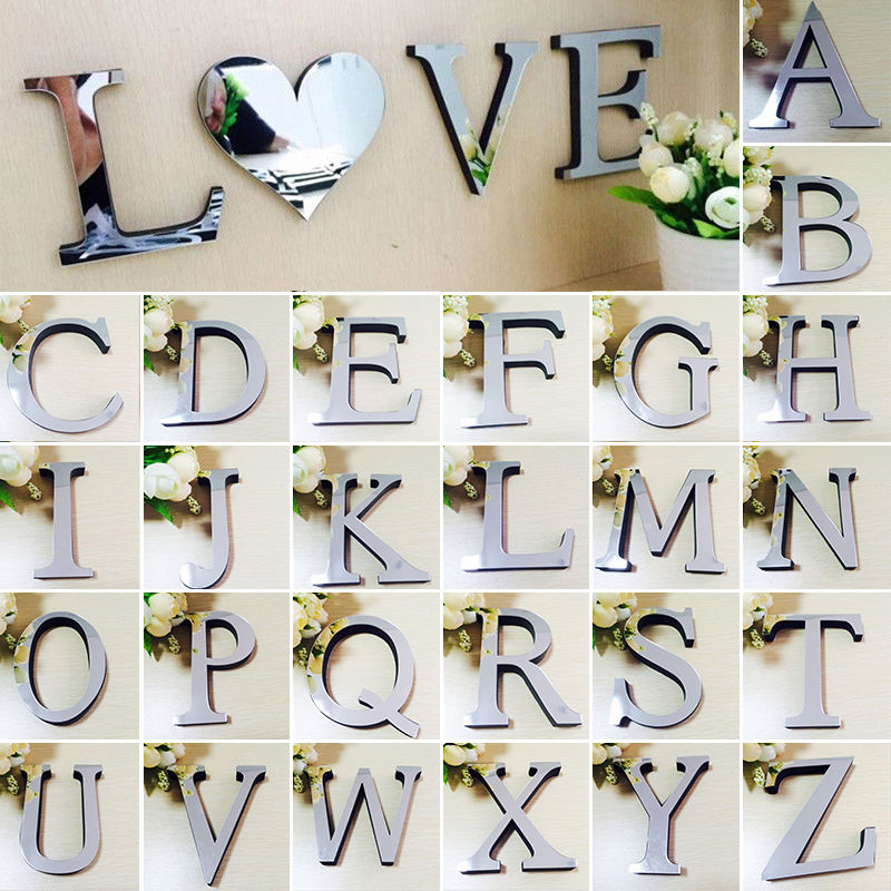 3D Acrylic Decals 26 Letters DIY Art Mural Home Decor Mirror Wall Sticker