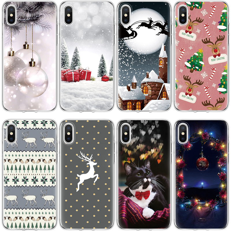 Christmas Iphone X Case.Xmas Cover For Iphone X Case For Iphone 4 4s 5 5s Se 5c 6s 6 7 8 Plus Christmas Deer Cat Ball Case For Iphone 7plus Gift Cover