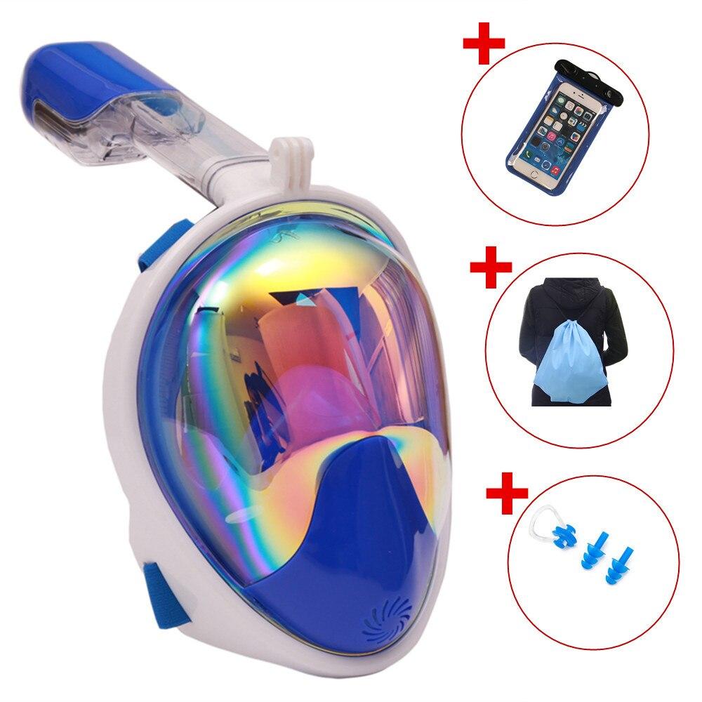 Placage Anti-buée masque de plongée en apnée visage complet plongée en apnée 2 en 1 pour Gopro 180 degrés sec facile respiration Tube de plongée