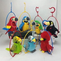 18cm Electric Talking Parrot Toy Cute Speaking Record Repeats Waving Wings Electronic Bird Stuffed Plush Toy Kids Birthday Gift