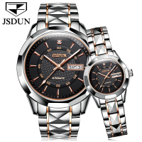 JSDUN Luxury Brand Couple Watches Automatic Machinery Lovers Watch Men Women Waterproof Stainless Steel Calendar Wrist Watch New