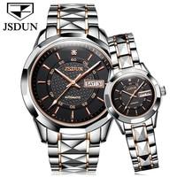 JSDUN Luxury Brand Couple Watches Automatic Machinery Lovers Watch Men Women Waterproof Stainless Steel Calendar Wrist Watch New