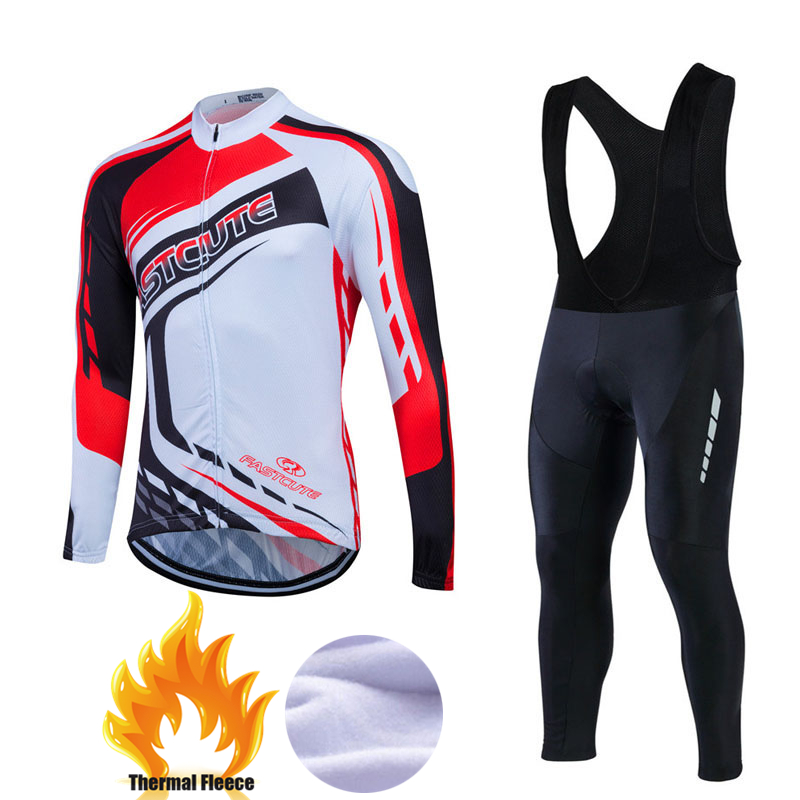 Winter Long Cycling Jersey Sets Thermal Fleece Ropa Roupa De Ciclismo Invierno MTB Bicycle Clothing Racing Bike Wear 2017 #CFL15 цена
