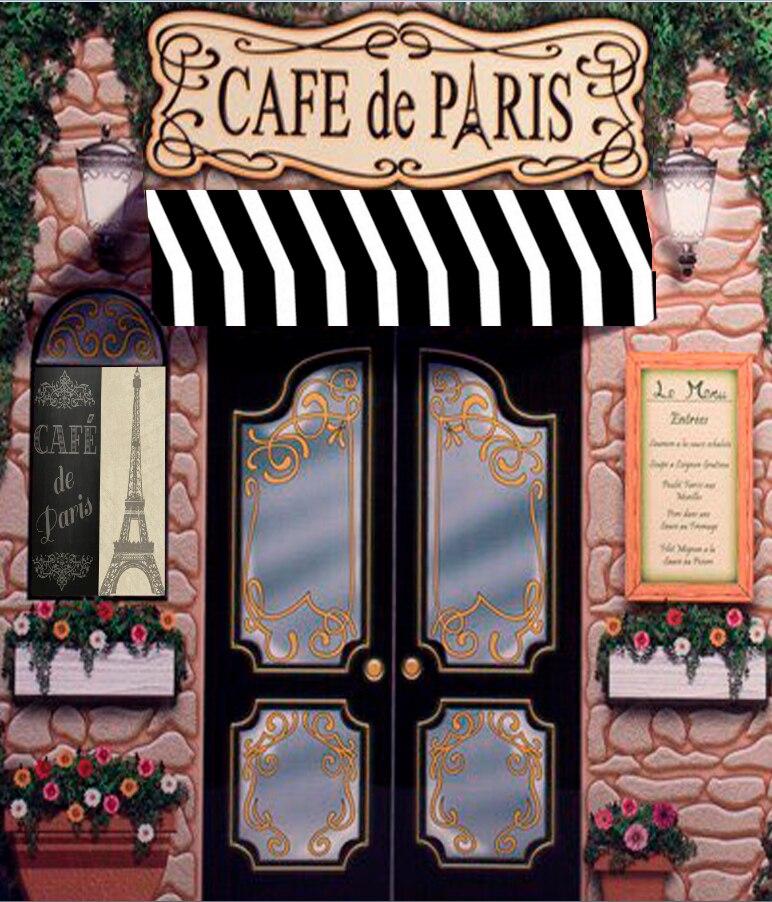 5x7ft Cafe De Paris Retro Stone Coffee Store Eiffel Tower