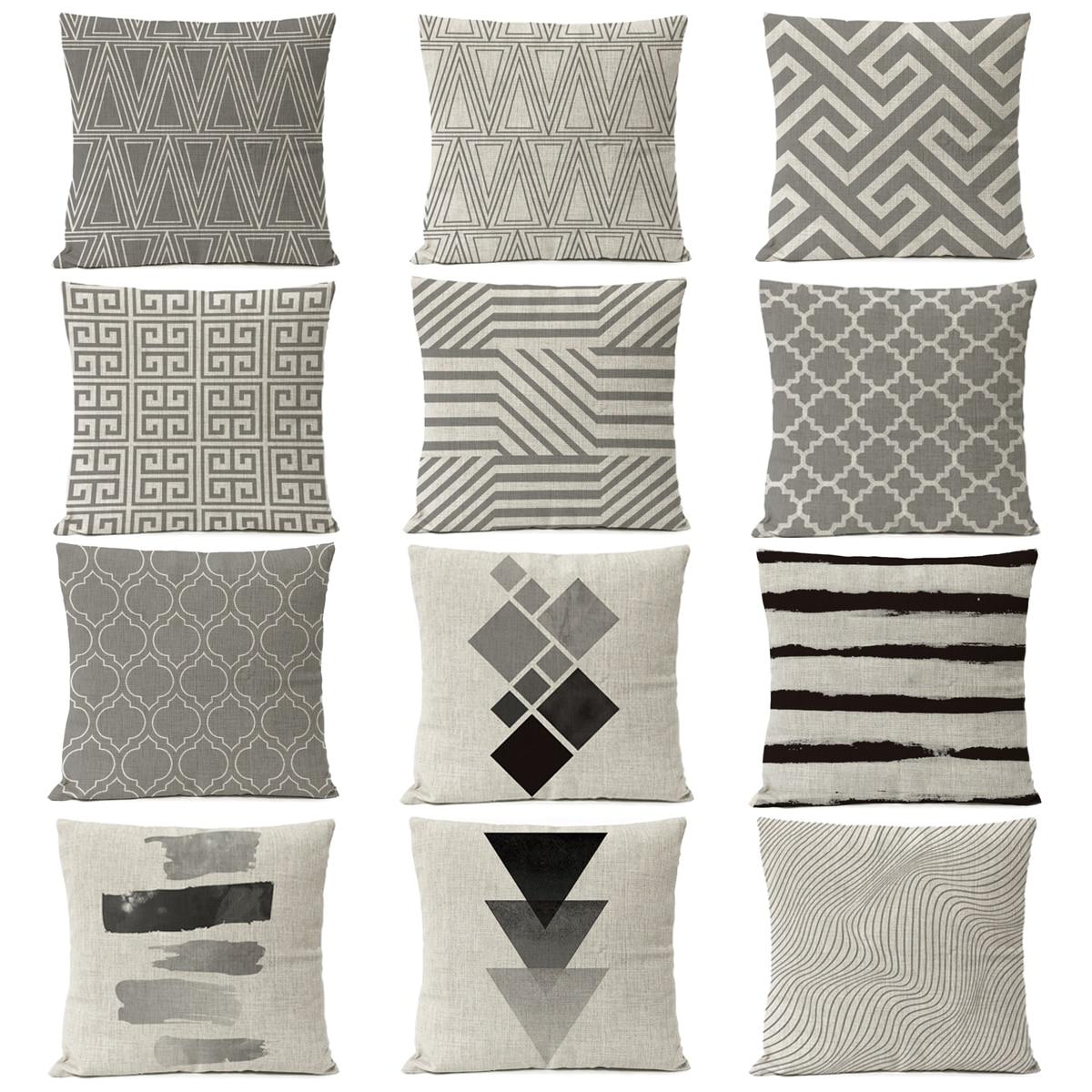 2019 nordic black gray geometric pillow cover geometry linen grey pillow case home decorative pillows stripe cushion cover