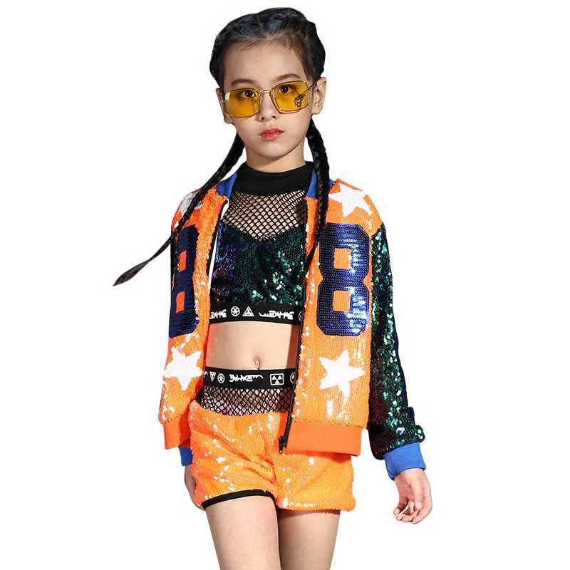 Traje de baile Jazz para niños niñas moda coreana ombligo nueva danza hip-hop chica lentejuelas moderna ropa traje