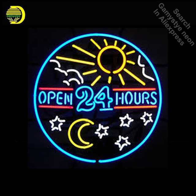 Neon Sign for Open 24 Hours Sun and Moon Star Neon Bulbs sign Display Handmade Glass tube neon lights for sale fluorescent signs