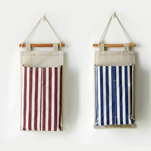 Creative Towel Hanging Bag Cotton Linen Stripe Folded Storage BagsTissue Boxes Home Decoration Articles for Daily Use for Cars