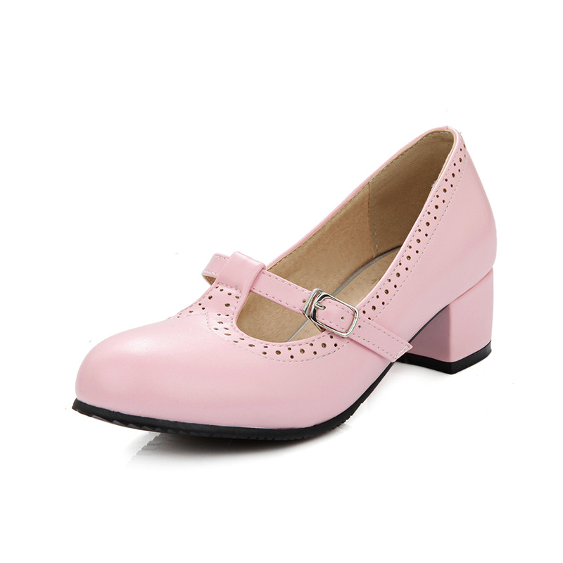 Tobillo Talla Mujeres blue Bajo 2018 48 Girls Mary Sweet Nuevo Tacón Zapatos Hot Lolita pink Us31 Bowktie white Janes Lvabc Correa Grande Black De Ballet nafqxTwf