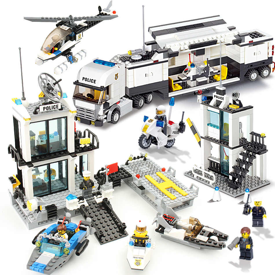 536pcs Building Blocks Police Station Prison Figures Compatible legoingly City Enlighten Brick Toy For Children Truck Helicopter