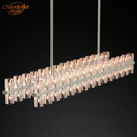 Arcachon Linear Chandelier Lighting Modern Retro Crystal Chandelier Pendant Hanging Light Restaurant Lighting