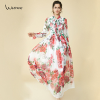 2019 Spring Bohemian Long Dresses White Floral Print Bow Collar Casual Runway Design Maxi Dress For Women