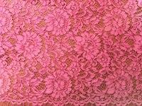 hot pink lace fabric, cord lace fabric, alencone lace fabric, 1.5 yrds, MF063