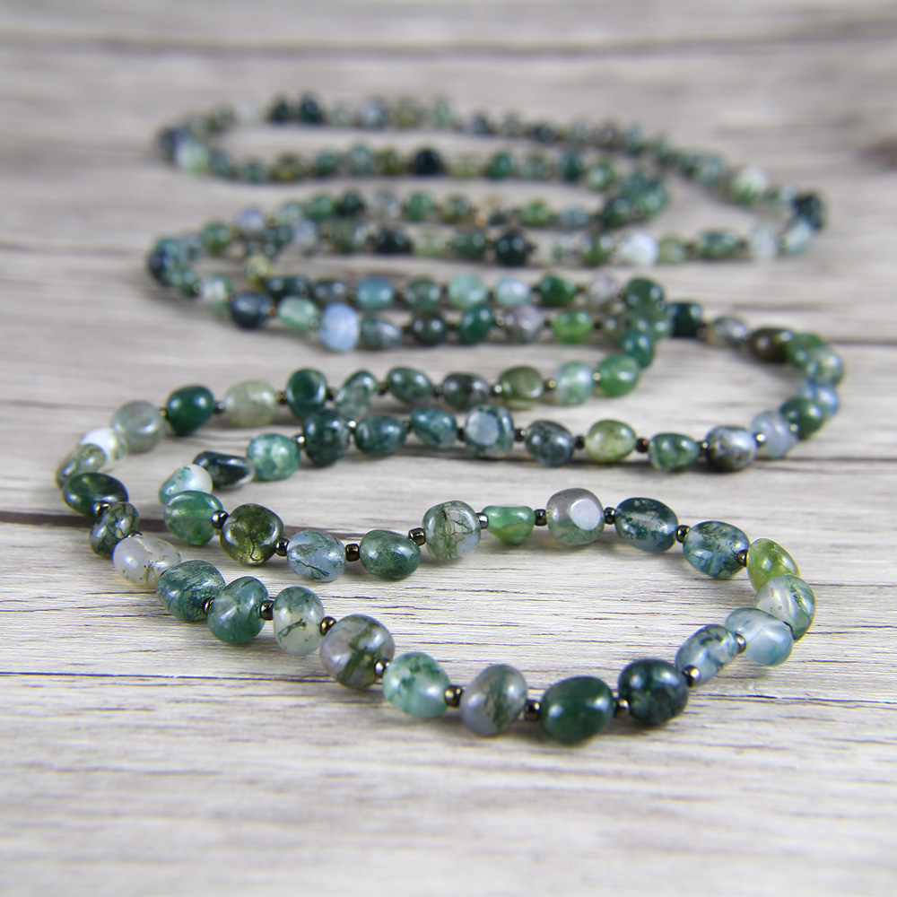 Long Bead Necklace Ocean Grass bead Necklace BOHO Natural Stone Necklace Gift For her Yoga long bead necklace ocean grass bead necklace boho natural stone necklace gift for her yoga