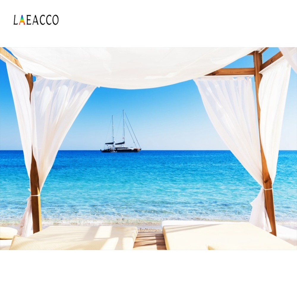 Laeacco Tropical Holiday View House Curtain Ship Sea Summer Scenic Photo Backdrops Photography Backgrounds For Studio