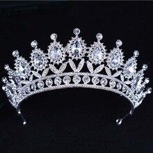 KMVEXO 2018 New Baroque Big Rhinestone Crystal Beaded Headband Tiara Bride Crown Luxury Wedding Korean Hair Ornaments