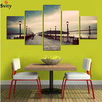 5Panel Home Modern Paintings Night Sunset On Sea Bridge Canvas Prints Picture Beautiful Time Wall Art