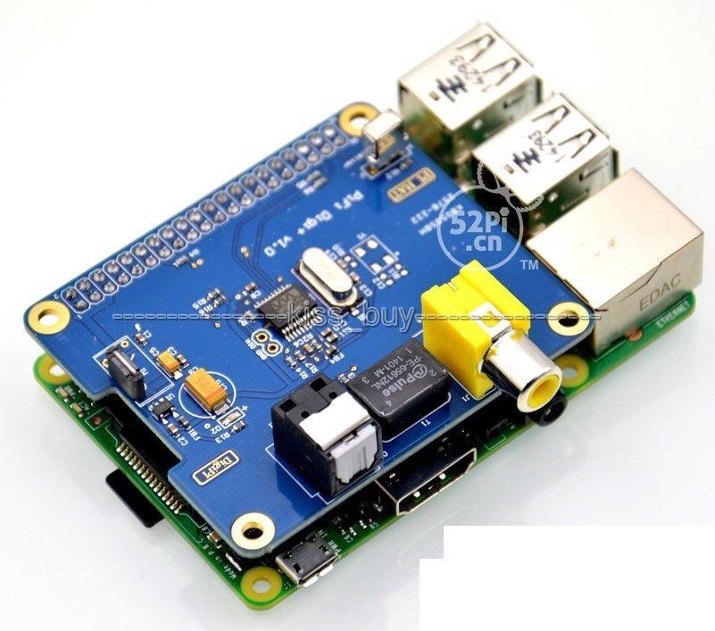 HIFI DiGi+ Digital Sound Card I2S SPDIF Optical Fiber RCA Raspberry Pi 3 /2 B+