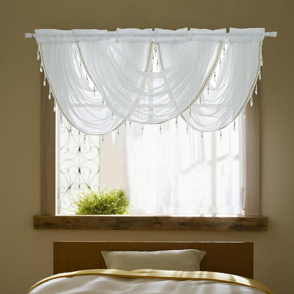 Urijk White Sheer Curtains For Kitchen Valance Window
