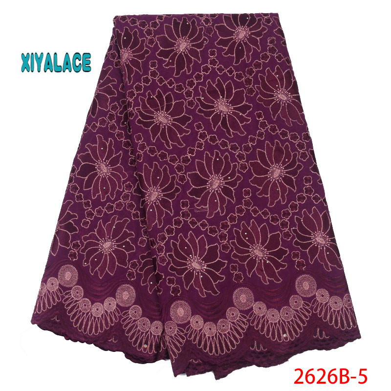 African Lace Fabric Swiss Voile Lace Fabric 2019 High Quality Stones Swiss Voile Lace In Nigerian Fabrics Party Dress YA2626B-5