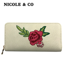 NICOLE & CONew Women long Wallets PU Leather Card Holder Money Purse Fashion Female Zipper Hand Phone Bag